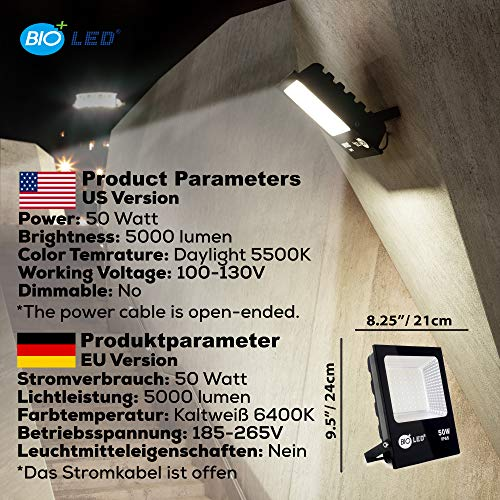 Bioled 50W LED Flood Light,Daylight, IP65 Waterproof , LED Spotlight for Garden, Outdoor Security Lights for Garage, LED Work Light, Outdoor Wall Light