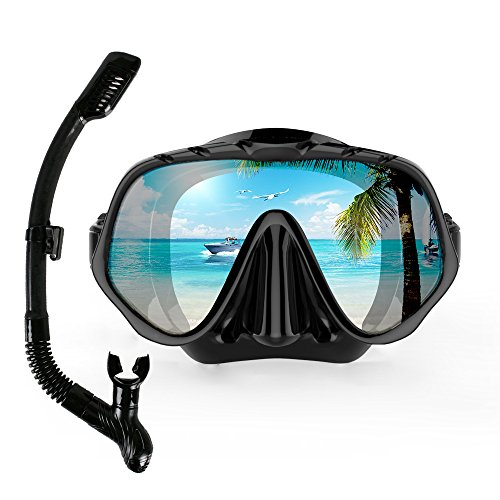 COPOZZ Snorkel Mask, Snorkeling Scuba Dive Glasses, Free Diving Tempered Glass Goggles For Adult Women Men Youth - Optional Dry Snorkel With Comfortable Mouthpiece & Fins Set (4100- Black Set) (Diving Black Mask)