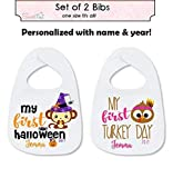 My First Halloween Bib Set My First Thanksgiving Baby Bib Set Gift Baby Girl Baby Boy