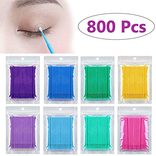 Kalolary 800 PCS Micro Applicator Brushes, Disposable Mascara Applicator Micro Brush, Eyelash Extension Glue Removal Lashes Graft Tools for Makeup, Oral and Cleanliness (8 ()