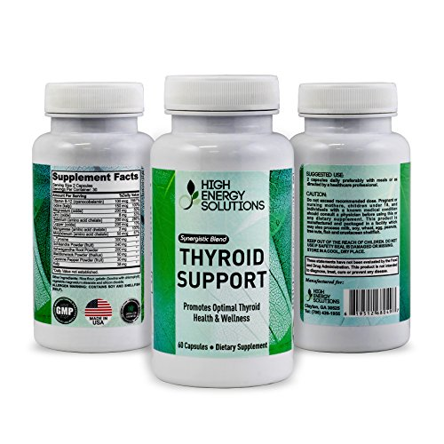 HIGH ENERGY SOLUTIONS Thyroid Support Supplement - Boost Energy - Metabolism - Concentration - Synergistic Formula - Non GMO - Feel Great Once Again - Be A Happier You - 60 Capsules - GMP - USA