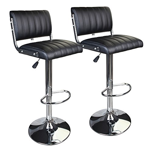 Leopard Chicago Square Back Adjustable Bar Stools, Set of 2,Black
