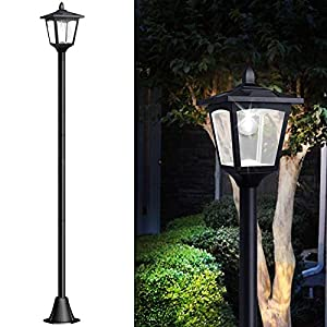 67″ Solar Lamp Post Lights Outdoor, Solar Powered Vintage Street Lights for Lawn, Pathway, Driveway, Front/Back Door