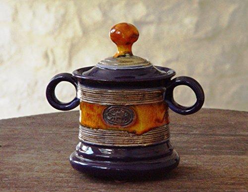 Blue Cellar - Blue and Orange Wheel Thrown Pottery Sugar Bowl. Sugar Cellar with Lid