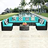 eclife Outdoor Rattan Sofa 7 PCS Set Patio PE Wicker Black Sofa Couch Furniture Set Removable Cushions W/ 6 Pillows and Tea Table (7PCS Turquoise)