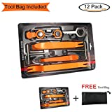 Auto Door Dash Panel Audio Trim Molding Install Removal Tool Kit with FREE Tool Bag 13 Pack, No-Scratch Car Body Radio Interior Upholstery Repair Pry Bar Set, VIWIEU Auto Stereo Modification Tools