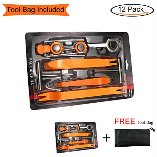 Auto Door Dash Panel Audio Trim Molding Install Removal Tool Kit with FREE Tool Bag 13 Pack, No-Scratch Car Body Radio Interior Upholstery Repair Pry Bar Set, VIWIEU Auto Stereo Modification Tools by VIWIEU