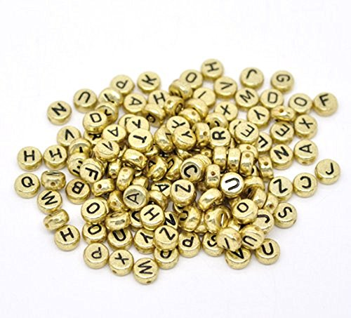 Rockin Beads Brand, 450 Mixed Gold Tone Acrylic Alphabet /Letter