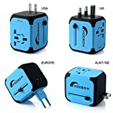 MOOBOM Universal Travel Power Adapter All-in-one Worldwide Travel Chargers with 2.4A Dual USB Charger Wall Adapters for US EU UK AU Europe & Asia,Built-in Spare Fuse AC Wall Outlet Plugs (Blue)