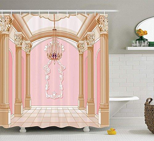 HarMQ Teen Girls Decor Shower Curtain Set by Interior of The Ballroom Magic Castle Chandelier Ceiling Columns Kingdom Print Bathroom Accessories Long Pink Beige 54