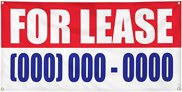 Vinyl Banner Multiple Sizes Now Leasing Red Blue Business Outdoor Weatherproof Industrial Yard Signs 10 Grommets 60x144Inches