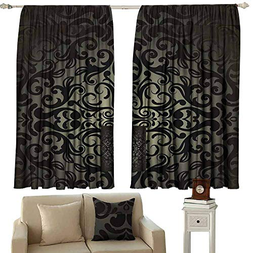 (Mannwarehouse Noise Reduction Curtain Damask Wallpaper for Living, Dining, Bedroom (Pair) 63