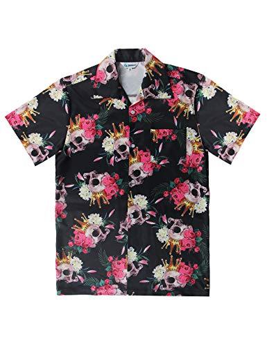 QRANSS Mens Black Skull Short Sleeves Button Down Hawaiian - Skull Shirt Front Button Mens