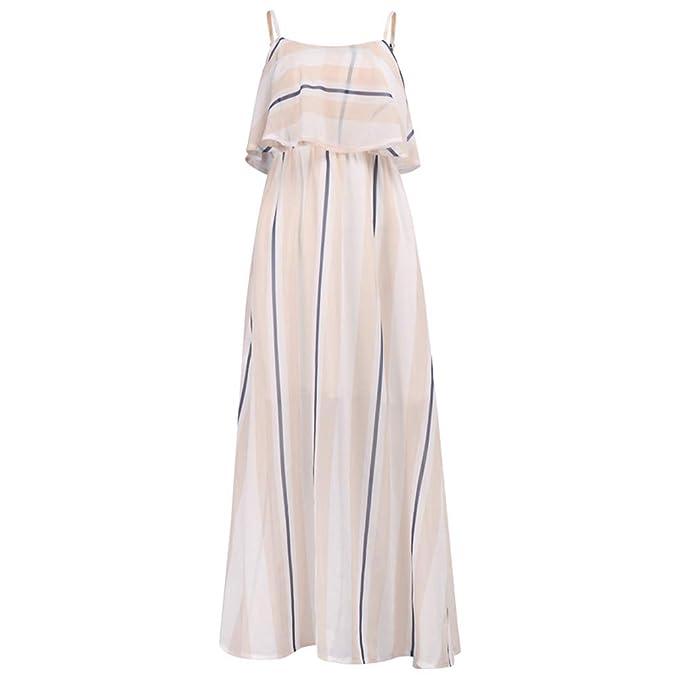 Vestidos Mujer Casual Estampado de Rayas Espalda Abierta Material ...