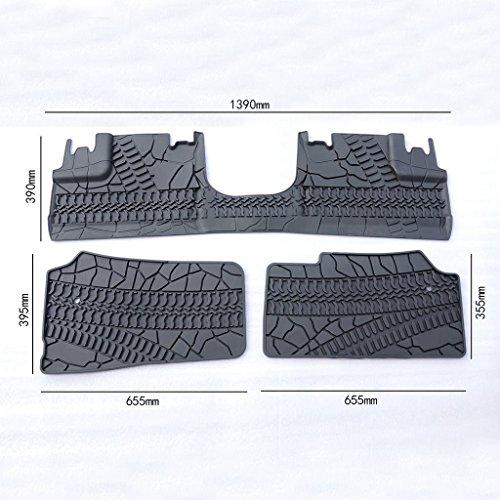Dwindish Rubber Slush Slate Carpet Door Floor Mats for 2007 Up Jeep Wrangler 4 Door