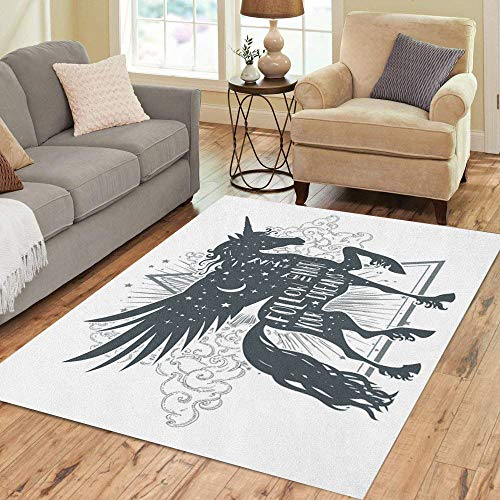 Semtomn Area Rug 3' X 5' Follow Your Dreams They Know The Way Magic Unicorn Home Decor Collection Floor Rugs Carpet for Living Room Bedroom Dining Room