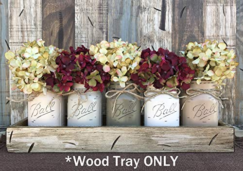 TRAY WOOD LARGE WITH RUSTIC HANDLES *Antique White Red Blue Box for CENTERPIECE, Candles, Mason Ball Jars, Mail, Remote -Kitchen Living Room Decor -Distressed - (fits 5 pint size jars) 18