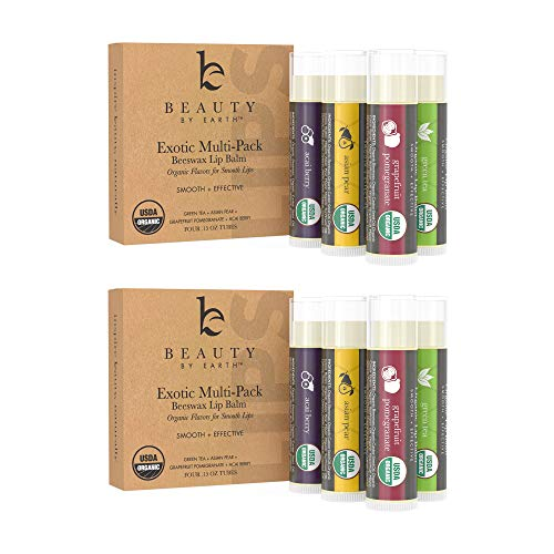 Lip Balm - Organic Pack of 8 Tubes Flavored Moisturizer to Repair Dry, Chapped and Cracked Lips with Best Natural Ingredients with Fruity Flavors - Great Gifts for Men, Women, Teens