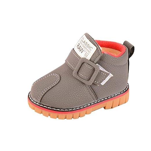 Oyedens Mode stil - Botas de Algodón para niña Blanco Gris 23 ...