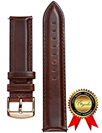 BRIGADA Italy Minimalist Brown Leather Watch Band Replacement for Men Women (20mm standard length)