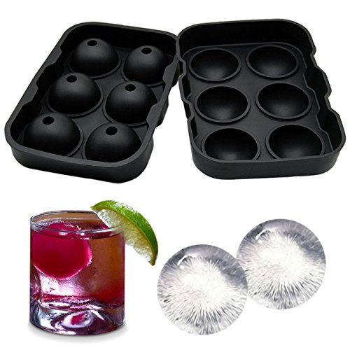 Sphere Ice Ball Maker - Silicone Tray with Li...