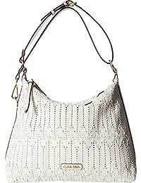 Womens Rattan Leather Hobo Bag