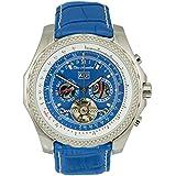 Elico Assoulini Men's Luxury Aviator Wrist Watch - SL76088 Cielo Japanese Quartz Movement Chronograph Watch - Blue Leather Band - 46.7mm Case Size