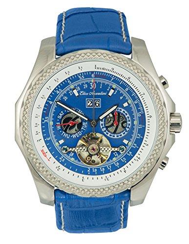 (Elico Assoulini Men's Luxury Aviator Wrist Watch - SL76088 Cielo Japanese Quartz Movement Chronograph Watch - Blue Leather Band - 46.7mm Case Size)