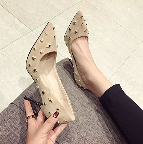 Women'S Elegant Elegant Beige Shoes Head Suede Single 35 Heel Spring Mouth Shoes High Shallow MDRW 9Cm Fine Leisure Rivet Lady Pointed Work Heels 68w4nX5qp