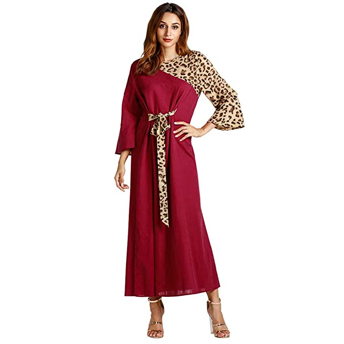 Luckycat Vestido Maxi Largo de Fiesta de Manga Larga con Estampado de Leopardo de Las Mujeres