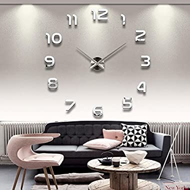 YESURPRISE Modern 3D Frameless Large Wall Clock Watches DIY Room Home Decorations