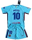 MilkaGGT Messi #10 FC Barcelona 2017-2018 Youths/Kids Away Soccer Jersey & Shorts (11-13 Years Old)