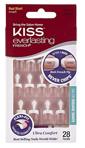 (Kiss Products Everlasting French Square Nail Kit, Real Short, 0.07)