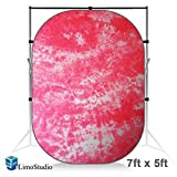 LimoStudio 7 x 5 Foot. Tie Dye Pink (Red) Collapsible Pop Out / Foldable Muslin Background Panel Disc, Light Reflector with Carry Bag, Photo Soft Lighting Effect, Photo Studio, AGG1929