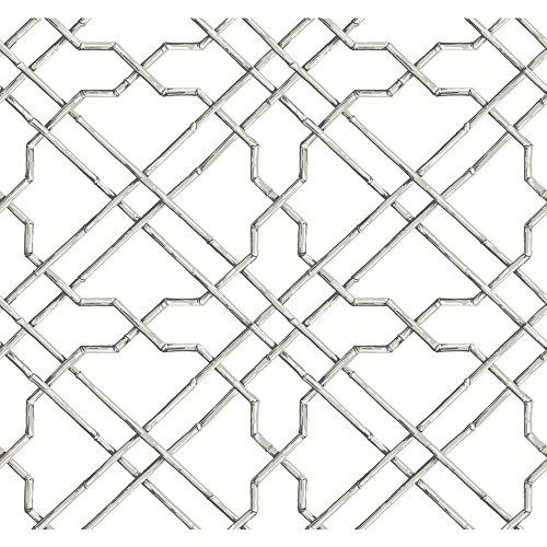 - York Wallcoverings Black and White Bamboo Trellis Wallpaper Memo Sample, 8 by 10-Inch, White/Gray/Black