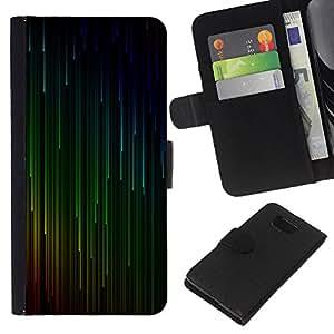 KLONGSHOP // Tirón de la caja Cartera de cuero con ranuras para tarjetas - Verde Rojo Cyan caída de Estrellas - Samsung ALPHA G850 //