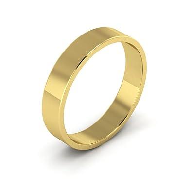 14k Yellow Gold Men S And Women S Plain Wedding Bands 4mm Light Flat