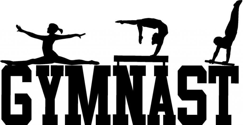 "CreativeSignsnDesigns [Creative Signs N Designs, Gymnast Girls Vinyl Wall Decal Decor 22"" x 11"" Black"