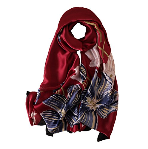 100% Silk Scarf - Women's Fashion Large Sunscreen Shawls Wraps - Lightweight Floral Pattern Satin for Headscarf&Neck (Flower-Red) - Neck Drape Silk