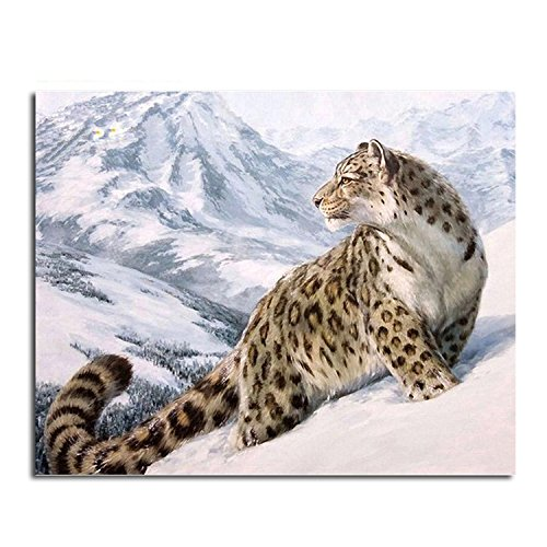 Vcharming Cute Dogs Puppy Flamingo Animal DIY Digital Oil Painting by Numbers for Adult and Kits Beginners Size 40x50cm(15.74x19.6in) Set (Snow Leopard)