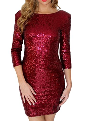 Sequin Half Backless Sleeve Round Neck Coolred Dress Women Red Bodycon gxXqnWg17
