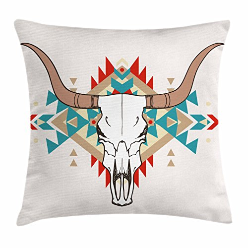 Ambesonne Western Throw Pillow Cushion Cover, Bull Skull Illustration with Ethnic Ornament Tribal Geometric Aztec Style, Decorative Square Accent Pillow Case, 18 X 18 Inches, Warm Taupe Red Blue