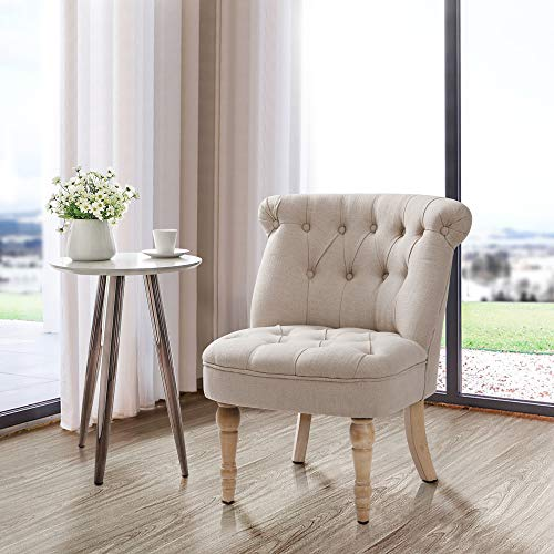 Finnhomy Furniture Accent Chair Tifted Armless Upholstered Chair Living Room Seat Side Chiar with ButtonTufts Beige