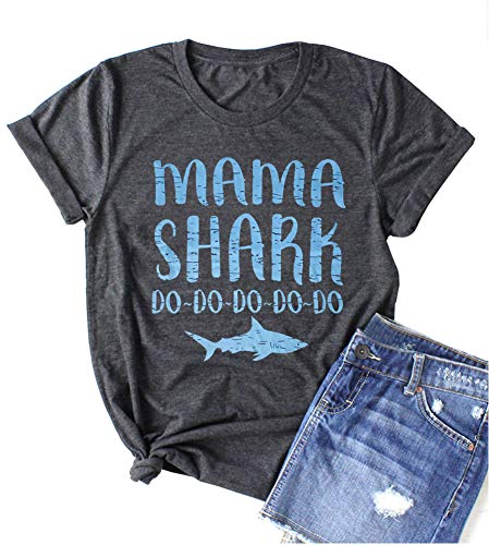 ALLTB Mama Shark Do Do Do T Shirts Womens Funny Letter Print Graphic Tees Casual Loose Short Sleeve Mom Shirts Tops (Dark Gray, M)