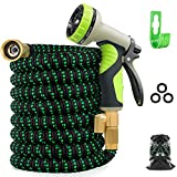 4. Zalotte Expandable Garden Hose with 9 Function Nozzle, Leakproof Lightweight Expanding Garden Water Hose with Solid Brass Fittings, Extra Strength 3750D Durable Gardening Flexible Hose Pipe(25ft)