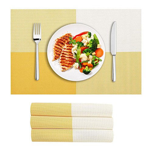 VEEYOO Placemats Woven Vinyl Insulation Stain Resistant Washable Big Cross Table Placemats Kitchen Dining Table Meal Mat Place Mats,Set of 4, Yellow