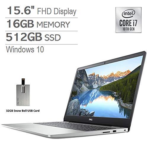 """2020 Dell Inspiron 15.6"""" FHD Laptop, Intel Core i7-1065G7 Processor, 16GB DDR4 RAM, 512GB SSD, Backlit Keyboard, MaxxAudio Pro, Webcam, HDMI, Windows 10 - Silver, Snow Bell 32GB USB Card"""