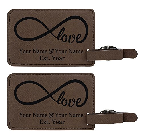 Personalized Couples Gifts Custom Names & Date Infinite Love Personalized Engagement Gifts for Honeymoon 2-pack Laser Engraved Leather Luggage Tags Brown by Personalized Gifts (Image #5)
