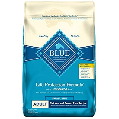 Blue Buffalo Life Protection Formula Adult Small Bite Dog Food – Natural Dry Dog Food for Adult Dogs – Chicken and Brown Rice – 15 lb. Bag