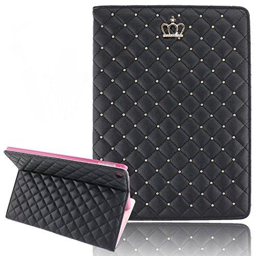 Umiko(TM) Fashion Leather Crown Design Stand Smart Case Cover for Apple ipad Air 2 / iPad 6 Sleep/Wake up-Black